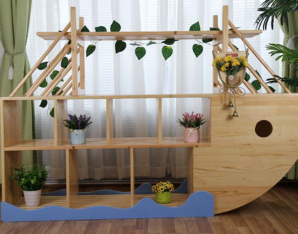 幼儿园实木家具船型植物架