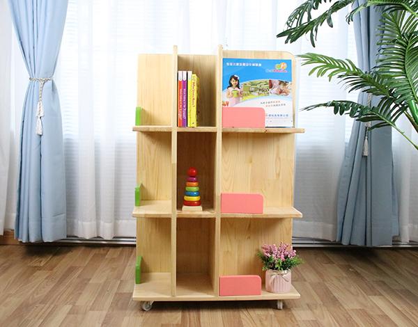幼儿园家具实木书架植物架组合架