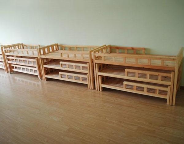 幼儿园实木家具多层抽拉床