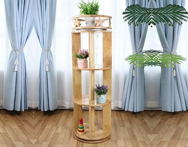 幼儿园实木家具柱状植物架