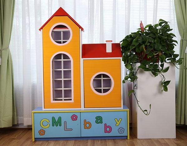 幼儿园实木家具房屋卡通茶杯柜