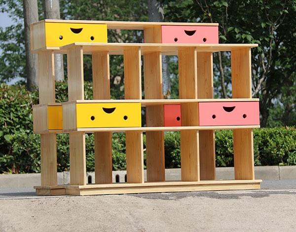 幼儿园实木家具收纳置物架组合