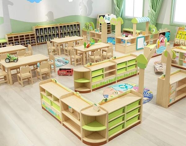 幼儿园大型木质实木家具区域活动组合柜