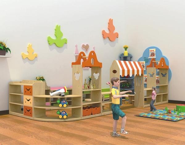 幼儿园实木区域活动组合柜
