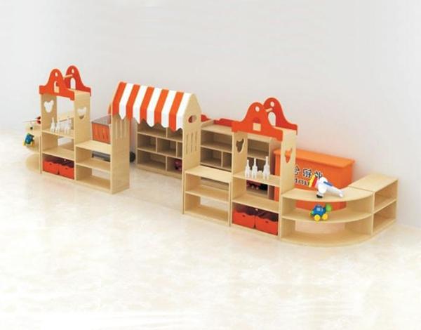幼儿园木制家具区域组合柜
